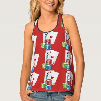 Camiseta De Tirantes Tarjetas y fichas de póker de la veintiuna del