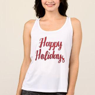 Camiseta De Tirantes Texto rojo del brillo del navidad buenas fiestas