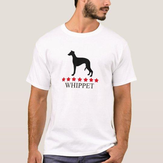 Camiseta de Whippet con las estrellas rojas