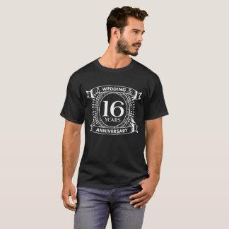 Camiseta décimosexto aniversario de boda blanco y negro