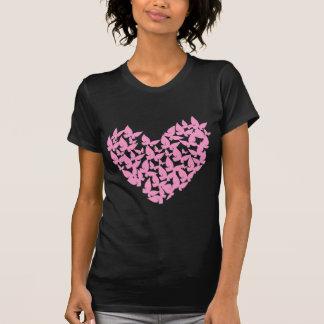 camiseta del amor del rosa del corazón de la