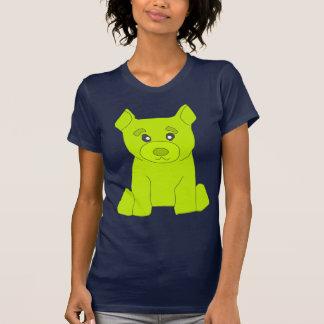 Camiseta del azul de las mujeres del oso del verde