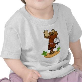 Camiseta del bebé de los alces del vaquero