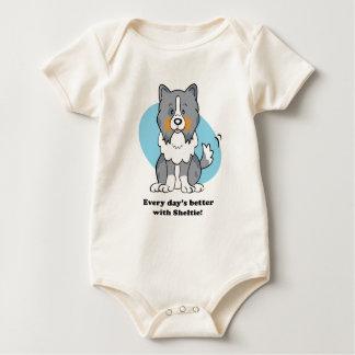 Camiseta del bebé de Sheltie del dibujo animado