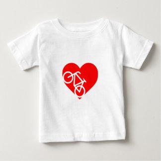 Camiseta del bebé del corazón de la bicicleta