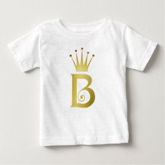 Camiseta del bebé del monograma de la letra de la
