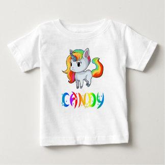 Camiseta del bebé del unicornio del caramelo