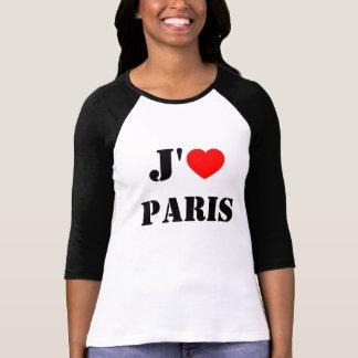 Camiseta del béisbol de París del amor de J'aime
