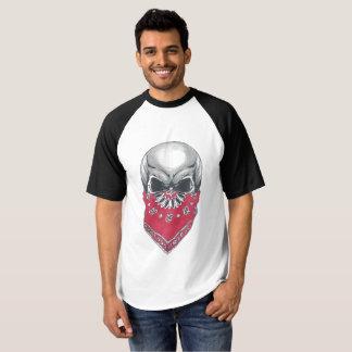 Camiseta del béisbol del raglán del cráneo de
