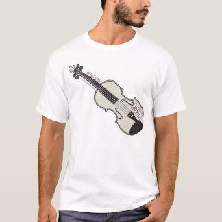 Camiseta del blanco del violín del MES del
