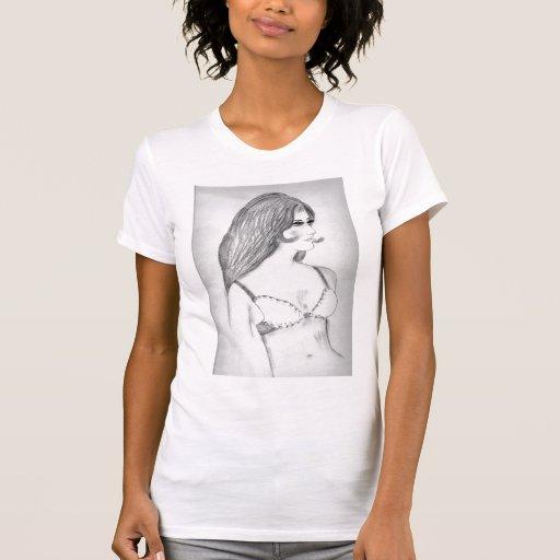 camiseta del bosquejo de la moda del modelo 70s