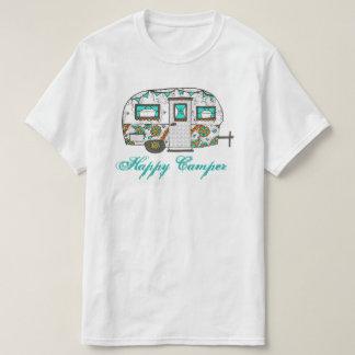 Camiseta del campista contento de la turquesa