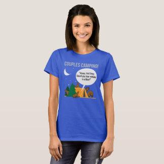 Camiseta del campista del humor de los pares que