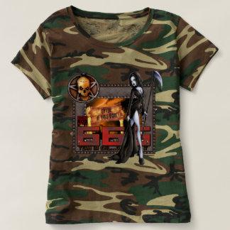 Camiseta del camuflaje de 666 señoras