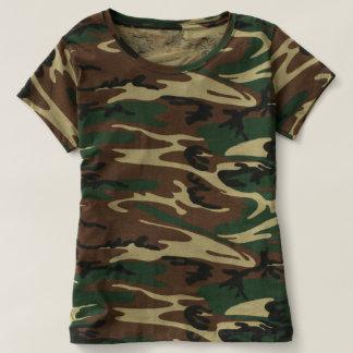 Camiseta del camuflaje de las mujeres