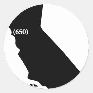 Camiseta del código de área 650, área de la bahía, pegatinas redondas