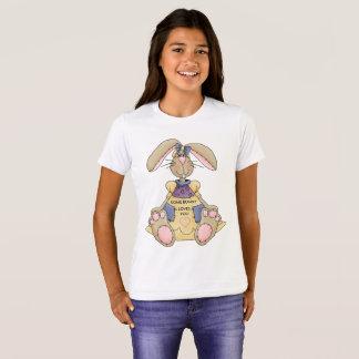 Camiseta del conejito del chica de Pascua