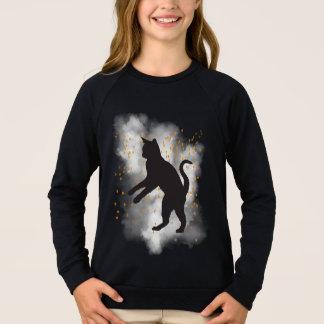 Camiseta del confeti de la calabaza del gato negro