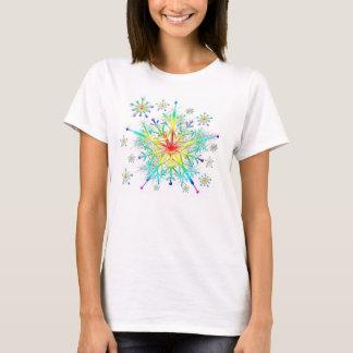 Camiseta Camiseta del copo de nieve del cristal de hielo