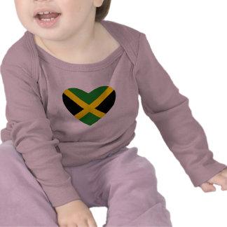 Camiseta del corazón de la bandera de Jamaica