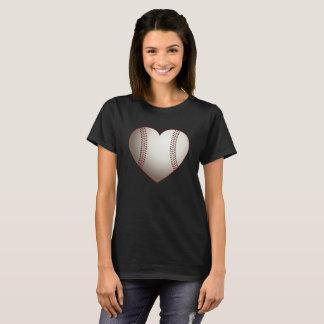 Camiseta del corazón del béisbol