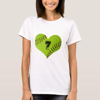 Camiseta del corazón del softball