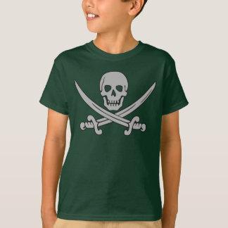 Camiseta del cráneo del pirata y del niño de las