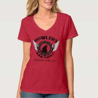Camiseta del cuello de la uve de las señoras
