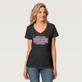 Camiseta del cuello en v de la REINA