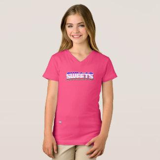 Camiseta del cuello en v de los chicas de los