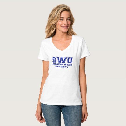 Camiseta del cuello en v del logotipo de las