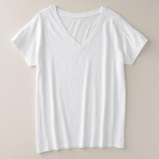 Camiseta del cuello en v del tamaño extra grande
