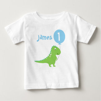 Camiseta del cumpleaños del globo del dinosaurio
