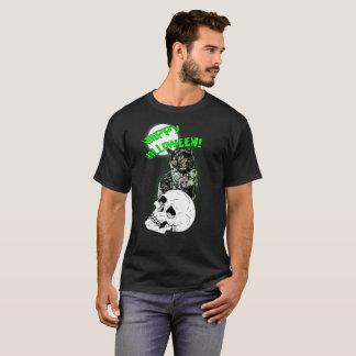 Camiseta del feliz Halloween del gato del zombi