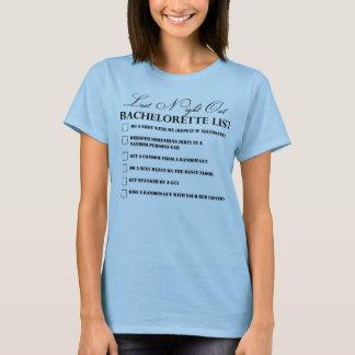 Camiseta del fiesta de la lista de Bachelorette