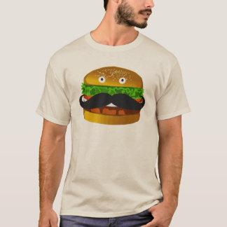 Camiseta del hombre de la hamburguesa del bigote