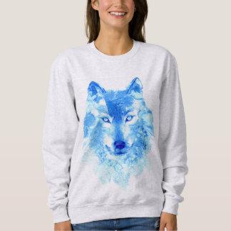 Camiseta del lobo del invierno de la acuarela