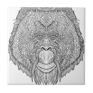 Camiseta del mono del orangután - colorante del azulejo de cerámica