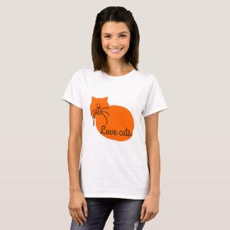 Camiseta del naranja del gato del dibujo animado