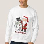Camiseta del navidad Santa y del muñeco de nieve
