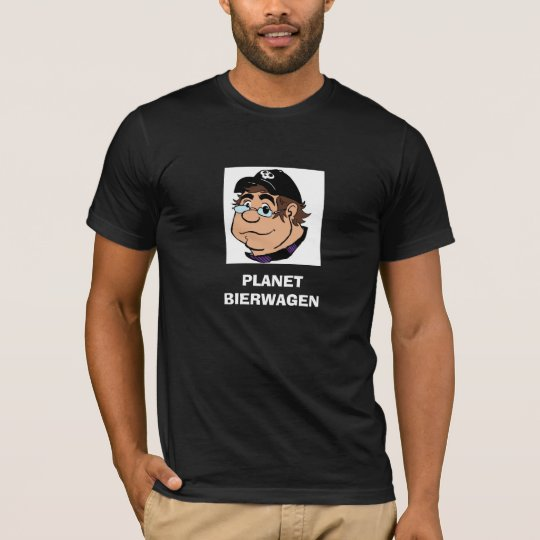 Camiseta del negro de la caricatura del PLANETA