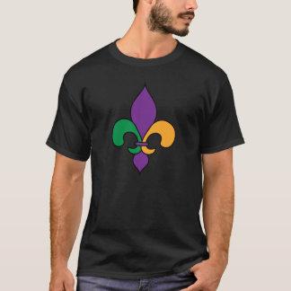 Camiseta del negro de la flor de lis del carnaval