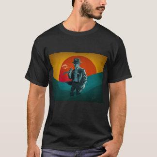 Camiseta del negro del hombre del vintage