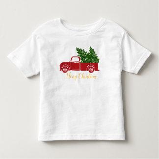 Camiseta del niño del camión del árbol de navidad