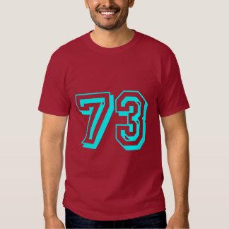 Camiseta del número 73 de la aguamarina