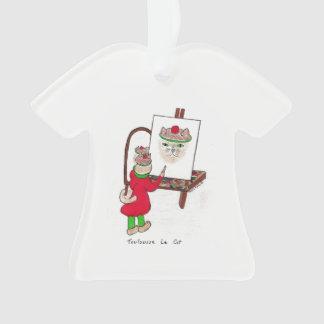 Camiseta del ornamento del navidad con el gato