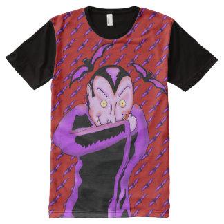 Camiseta Con Estampado Integral Camiseta del panel de Halloween del vampiro