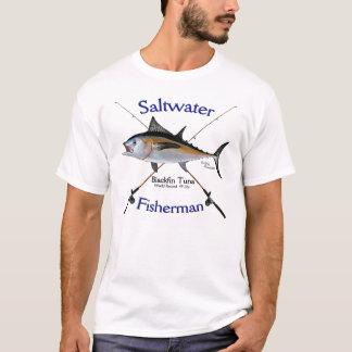 Camiseta del pescador del agua salada del atún de