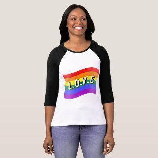 Camiseta del raglán de la conciencia del amor de