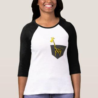 Camiseta del raglán de la manga de la jirafa 3/4 d